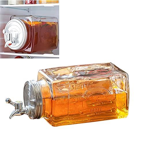GUOGEGE Dispensador de Bebidas de Cristal, 3L Botella con Grifo y Cubierta de Acero Inoxidable, Jarra Agua Cristal para Agua Fría té Helado y Bebidas de Jugo
