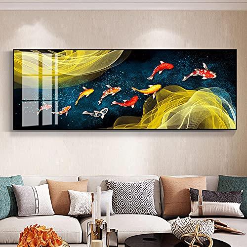 Pintura decorativa de pared de gran tamaño sobre lienzo, póster de Koi de estilo chino, ilustración de nueve peces, carpa de feng shui, estanque de loto, decoración del hogar, 40x120cm sin marco