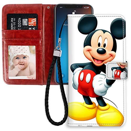 DISNEY COLLECTION Funda tipo cartera para iPhone 11 de 6.1 pulgadas, piel sintética, diseño de Mickey Mouse magnético con correa de mano, soporte para mujeres y niñas