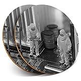 Posavasos redondos de vinilo de Destination Ltd (juego de 2) BW – Técnico de Computación Geek PC reparaciones Bebidas Brillantes Posavasos / Protección de mesa para cualquier tipo de mesa #37748