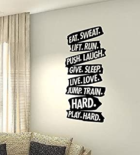 CVANU Eat Sweat Run Train Workout Motivational Fitness Gym Life Workout Quote Wall DIY Art Decor Bedroom Home Happiness Vi...