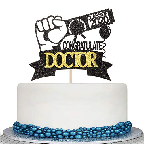 Glitter 2020 Graduation Doctor Cake Topper - Medical Science High School/College Graduate Congratulations Cake Decorations-Congrats RN Grad Graduation Party Decorations Supplies