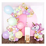 Shimmer and Confetti Premium 16-Foot DIY Pastel Unicorn Balloon Garland and Arch Kit, with Giant Unicorn, Stars, Confetti. Unicorn Birthday Decorations for Girls. Macaron and Rainbow Party Supplies.