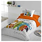 COTTON ART- Funda Nórdica Infantil / Juvenil SURF Cama de 105 (180X260cm)+ 1...
