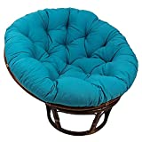 DLPY Indoor Papasan Chair Cushion,44' X 6' X 44' Cotton Rounded Tufted Oversized Chair Pad Floor Pillow Thick Solid Color for Hammock -Blue Diameter110cm(43inch)