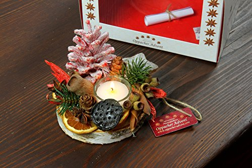 Oppacher 3000143–0001Candele gesteck Deluxe da Tavolo con Confezione Regalo, centrotavola per Avvento candeliere dell' avvento, pigne/Rami/Frutti, Rosso II, Diametro Circa 12–15cm