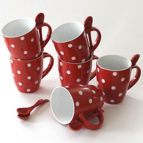 Schöne Tassen mit Löffel Kaffeetassen Kaffeebecher rot weiß gepunktet aus Keramik 6er Set je 10 cm groß