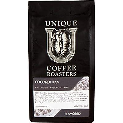 Island Toasted 'Coconut Kiss' Flavored Ground Coffee, 1 LB (16 oz) bag, Medium Roast, 100% Arabica Premium Quality Flavor