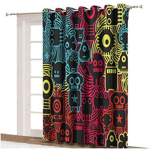 Modern Blackout Curtain Cute Digital Monsters and Robots Animals Futuristic Kids Caricature Illustration Grommets Panels Printed Curtains ,Single Panel 100x84 inch,for Sliding Door Multicolor