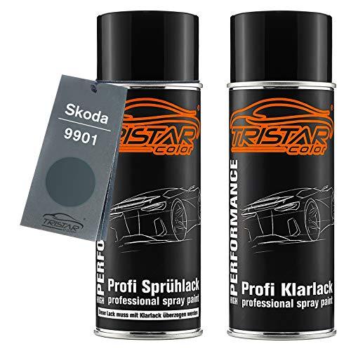 TRISTARcolor Autolack Spraydosen Set für Skoda 9901 Graphite Grey Metallic Basislack Klarlack Sprühdose 400ml