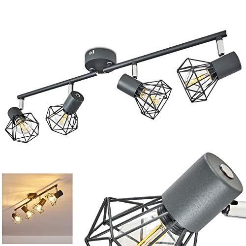 Plafondlamp Gullspang, metalen plafondlamp in antraciet, 4-vlam, met verstelbare spots, 4 x E14 stopcontact max. 40 Watt, moderne spot met roosters, LED-lampen geschikt