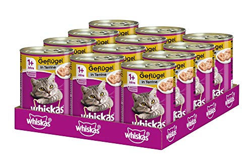 Whiskas Katzenfutter Nassfutter Adult 1+ mit Geflügel in Terrine, 12 Dosen (12 x 400g)