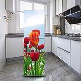 DEENLI Pegatinas Neveras, Foto Hermosa del Tulipán,Etiqueta De Renovación De Refrigerador Viejo