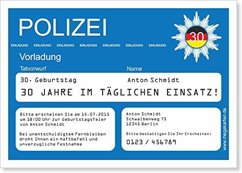 Einladungskarten zum Geburtstag als Polizeivorladung 100 Stück