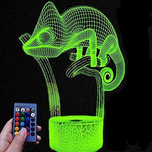 3D Ilusión óptica Lámpara LED Lagarto Luz de noche Deco 16 colores con Acrílico usb Decoracion Dormitorio escritorio mesa para niños adultos del partido cumpleaños Luces nocturnas de mesa