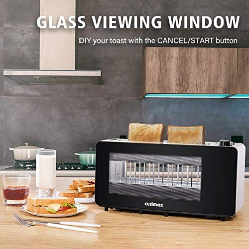 Toaster 2 Slice, CUSIMAX Toaster Long Slot with Glass Window Bagel Toasters, Artisan Bread Toaster Stainless Steel Wide Slot with Automatic Lifting, Slide-out Glass Panel and Removable Crumb Tray