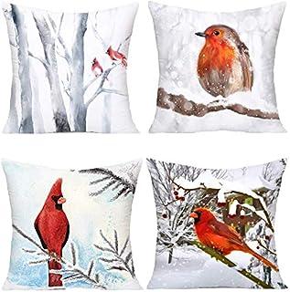 C-WANG Fundas de Almohada Cardenal Patrón de Rama de Nieve Funda de Almohada de Funda súper Suave Funda de cojín Sofá casero Invierno Pájaro Rojo Funda de Almohada Decorativa