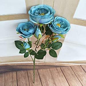 Silk Flower Arrangements Artificial and Dried Flower 1Pc Simulation Artificial Flowers Silk 6 Heads Camellia Peony Fake Flores for Home Party Wedding Wall Decorative Bouquet