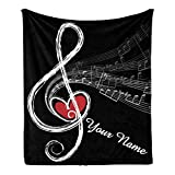 CUXWEOT Custom Blanket with Name Text,Personalized Treble Love Music Note Super Soft Fleece Throw Blanket for Couch Sofa Bed (50 X 60 inches)