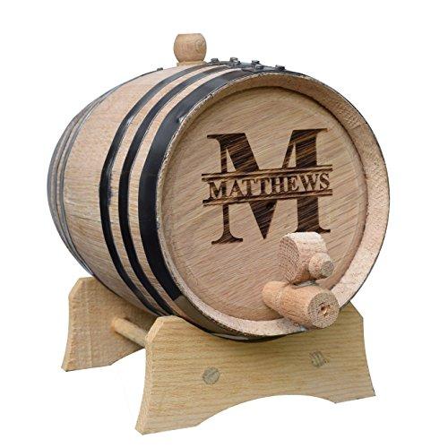 Custom Whiskey Barrel - Personalized Wine Barrel - Engraved Mini Oak Aging Cask - Classic Design (1 Liter Barrel)