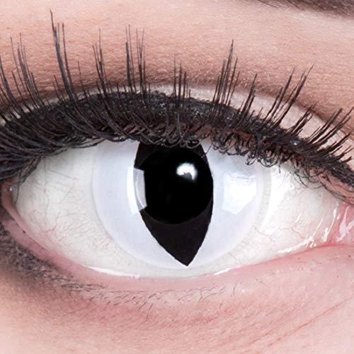 Funnylens 1 Paar farbige schwarz weise weisse crazy Jahres Kontaktlinsen ohne Stärke crazy contact lenses Katzenauge weiß Viper Cat Eye 1 Paar perfekt zu Fasching mit Verdrehschutz! Mit gratis Linsenb