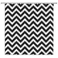 モダンシンプルシャワー黒と白のカーテンストライプ波線3Dプリントバスルームの装飾バスタブポリエステルカーテン生地シャワーカーテン180x200cm