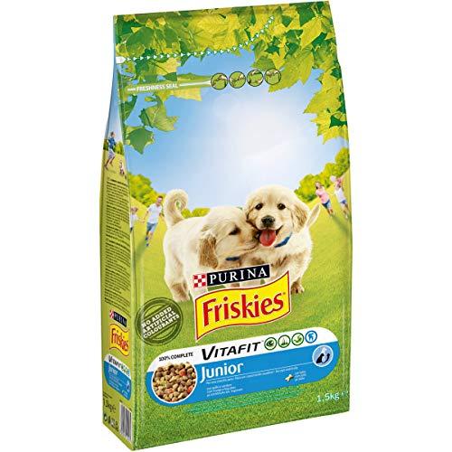 Purina Friskies Crocchette Cane Vitafit Junior con Pollo e l'Aggiunta di Latte e Verdure, 6 Sacchi da 1.5 kg Ciascuno