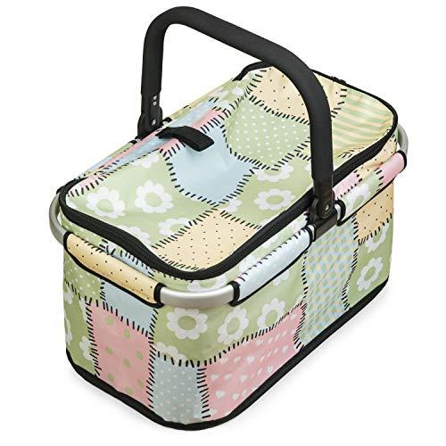 Genius Falko Einkaufskorb Patchwork - faltbare Einkaufstasche mit Aluminium-Rahmen, rutschfestem Griff & Reißverschluss-Innenfach - 48 x 27 x 28 cm Volumen: 26l oder 25kg