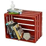 LAUBLUST Sehr Große Vintage Holzkiste - 50x40x30cm, Rot Lackiert, Unbenutzt | Möbel-Kiste | Wein-Kiste | Obst-Kiste | Apfel-Kiste | Deko-Kiste aus Holz