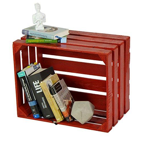 LAUBLUST Sehr Große Vintage Holzkiste - 50x40x30cm, Rot Lackiert, Neu, Unbenutzt   Möbel-Kiste   Wein-Kiste   Obst-Kiste   Apfel-Kiste   Deko-Kiste aus Holz