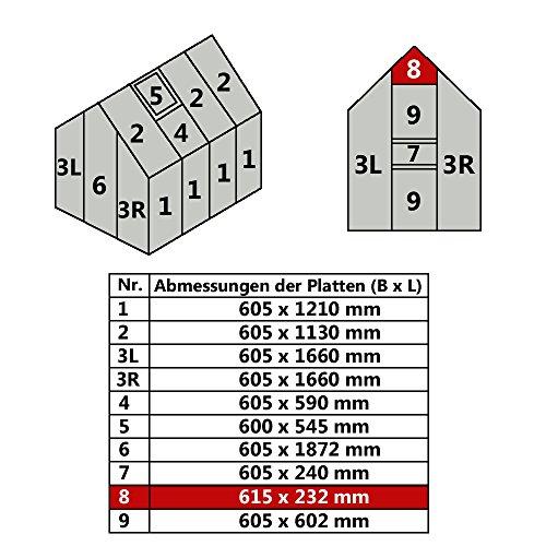 Hohlkammerplatte für Gewächshaus Gartenhaus Treibhaus (Nr. 8 (615 x 232 mm | 57,07 €/m²))