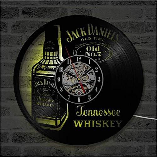 FXPCYGZ Wanduhr Aus Vinyl Schallplattenuhr Upcycling LED Jack Daniels Familien Dekoration 3D Design-Uhr Wohnzimmer Schlafzimmer Restaurant Wand-Deko Schwarz Ø: 30 cm