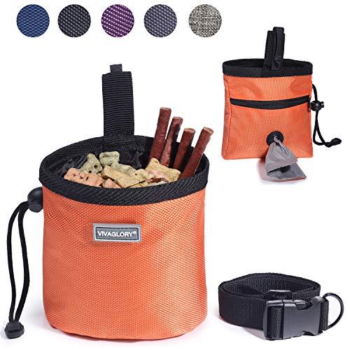 VIVAGLORY Futterbeutel für Hunde, Futtertasche für Leckerli für das Hundetraining, mit Kotbeutelspender und verstellbarem Gürtel, Hundefuttertasche auf 2 Arten tragbar, Orange