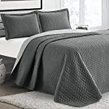 BYSURE Reversible Summer Quilt Set Full/Queen Size 3 Piece (Dark & Light Grey, 90x96), Lightweight All Season Brushed Microfiber Bedspread Coverlet, Gray Leaf Pattern Quilt with 2 Shams