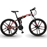 WPW Bicicleta de Montaña de 26 Pulgadas, Hombres, Mujeres, 24 Velocidades, 10 Ruedas de Corte, Marco de Aleación de Aluminio, Bicicleta de Montaña, Portátil (Color : 21-Speed Red, Talla : 26inches)
