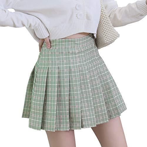 LPATTERN Mujeres/Niñas Falda Dulce de Cuadros Falda Plisada Coreana Básica Falda Escolar Tartán Falda Plisada de la Cintura Alta Falda De Una Línea Falda Mini Corta Elástica,Verde Claro,M
