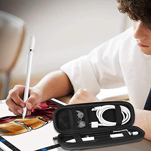 Fintie Hülle für Apple Pencil (1. / 2. Generation) - Kunstleder Stifthalter für Samsung, Huawei, Surface Pro Stylus Pen Tasche Schutzhülle mit Ablagefach für S Pen und USB Kabel, Schwarz