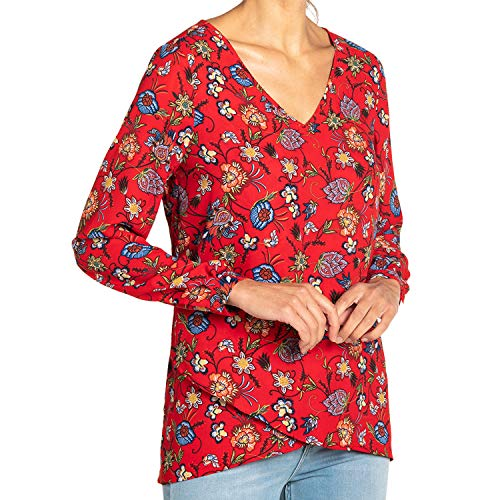 Chelsea & Theodore Long-Sleeve Crossover Woven Top i (RED Floral Print, XXL)