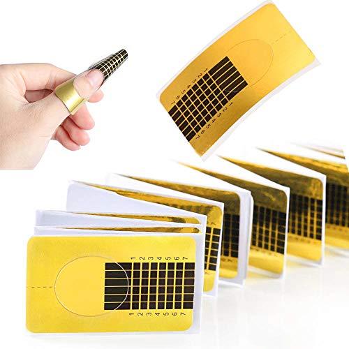 Nagel-Schablonen, Modellier-Schablone selbstklebend für Gel-Nägel & Nagel-Verlängerung Golden Schablonen (120 Stück)