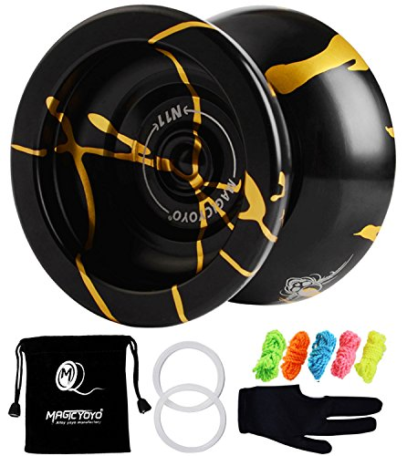MAGICYOYO N11 Professional Unresponsive Yoyo N11 Alloy Aluminum YoYo Ball (Black with Golden) with Bag, Glove and 5 Strings