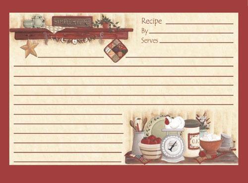 4x6 Kitchen Recipe Cards for Family Plain Retro Grannys Kitchen Style Red Set of 18