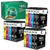 GREENSKY 16XL Cartuchos Tinta Compatible para Epson 16 XL para Workforce WF-2630 WF-2510 WF-2530 WF-2650 WF-2750 WF-2760 WF-2010 WF-2540 WF-2660 WF-2520 (6 Negro, 3 Cian, 3 Magenta, 3 Amarillo)