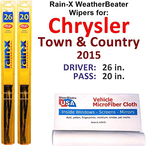 Rain-X WeatherBeater Wiper Blades for 2015 Chrysler Town & Country Set Rain-X WeatherBeater Conventional Blades Wipers Set Bundled with MicroFiber Interior Car Cloth