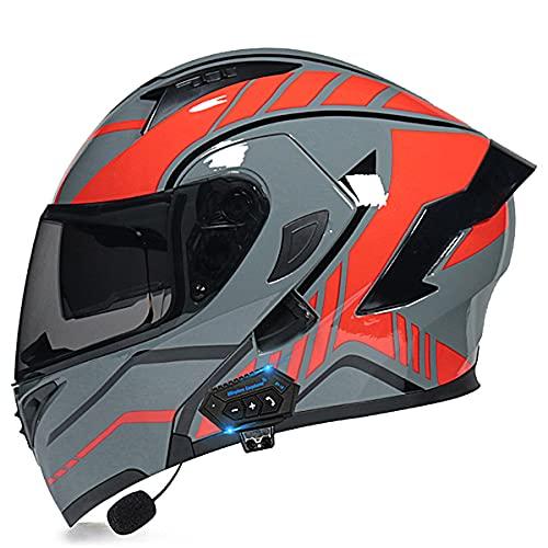 Cascos modulares de la motocicleta ECE/DOT certificación Bluetooth Flip Up Cascos integrales Dual-altavoz Bluetooth auricular con micrófono para respuesta automática(Size:L(59-60CM),Color:Rojo-C)