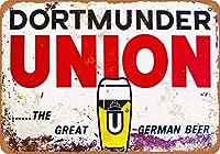 Dortmunder Union Beer 注意看板メタル安全標識壁パネル注意マー表示パネル金属板のブリキ看板情報サイン