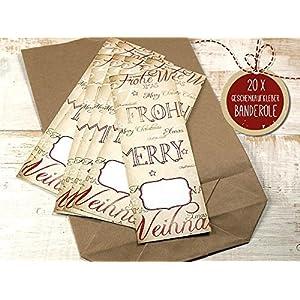 20 Stück große Geschenkaufkleber Banderole Weihnachten 5 x 15 cm für DIY Geschenktüten Weihnachtsverpackung nostalgisch…