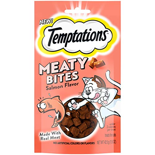 TEMPTATIONS Meaty Bites, Soft and Savory Cat Treats, Salmon Flavor, 1.5 oz.Pouches (Pack of 7)