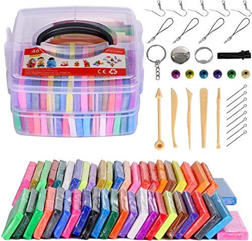 Polymer-Ton, 46 Farben, 1,25 kg, ungiftig, für den Ofen, Backen, Modelliermasse, Bastelset, beste Weihnachts- und Geburtstagsgeschenke für Kinder