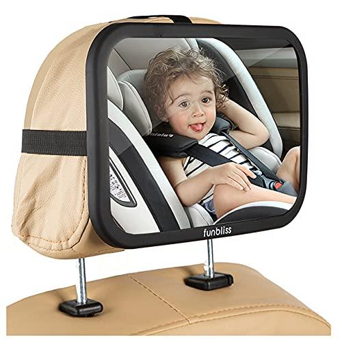 아기 자동차 미러 프리미엄 매트 마무리 - 슈퍼 클리어 PMMA 소재 거울 - 안전 안전 하 고 산산염 방지 검은 색으로 가장 안정된 뒷좌석 거울