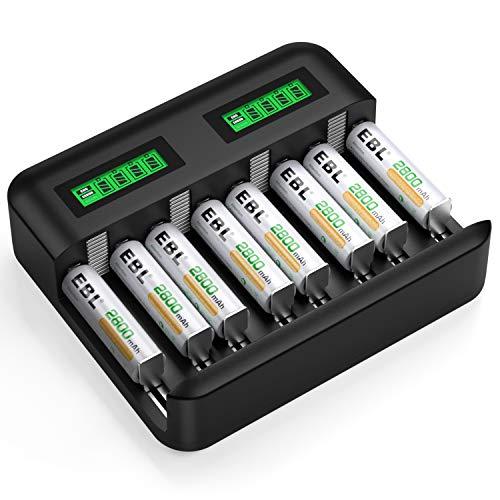 EBL 8pcs Piles Rechargeables AA 2800mAh + Chargeur de Piles Universel LCD pour AA/AAA/C/D Piles Rechargeables NI-MH, Charge Rapide par Port USB/Type C